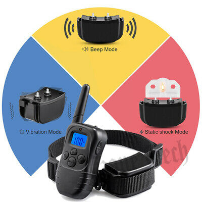 Pet Dog Training Collar Waterproof Electric Shock Rechargeable Remote 330 Yard