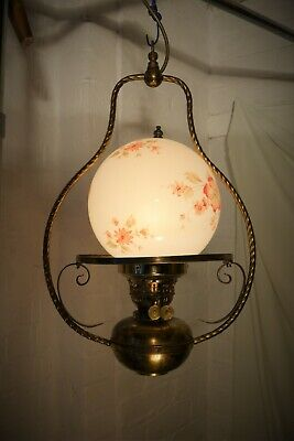 Vintage French Farmhouse Ceiling Oil Lamp Converted to Electricity. Glass Globe.