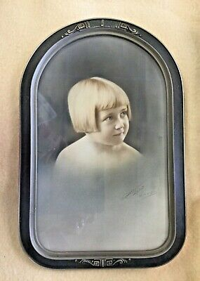 Antique Wood Oval Top Flat Glass Frame Picture Portrait