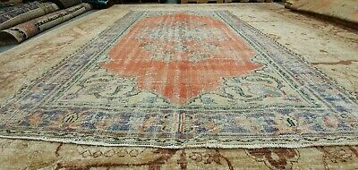Rare Antique 1940-1950's Distressed Wool Pile Natural Dye Oushak Area Rug 6x9ft