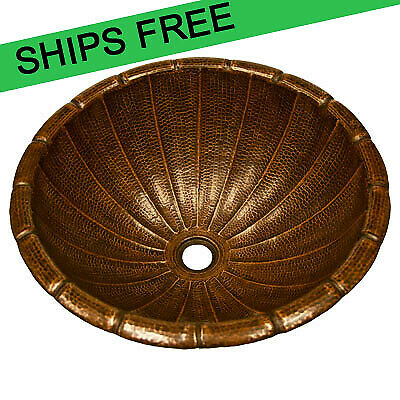 Copper Round Top Mount Fluted Bathroom Sink - 17""
