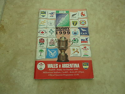 Wales v Argentina 1999 World Cup Pool D Match Day Programme.