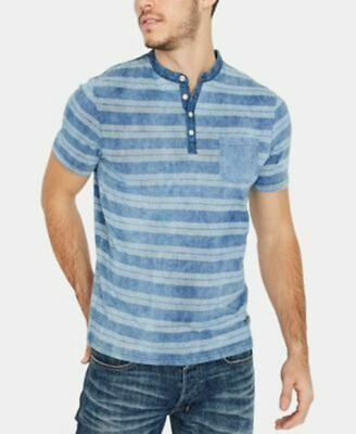BUFFALO DAVID BITTON Kidom Blue Henley Neck Chest Pocket T-Shirt sz XL NWT $49
