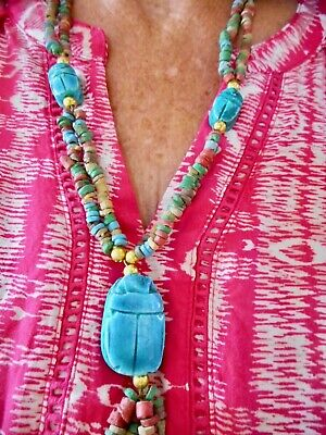 Authentic Vintage 1980's Egyptian Scarab Wooden Bead Necklace