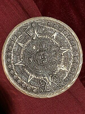 """Vintage Sterling Silver Mexican Mayan Aztec Calendar, brooch/pendant About 2"""""""