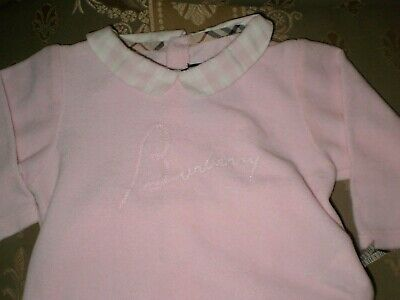 Burberry 2 piece infant girls pink velvety soft outfit, cotton/poly, size 6M