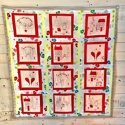 Handmade Christmas Baby Crib / Stroller Quilt Cotton, Flannel And Fleece