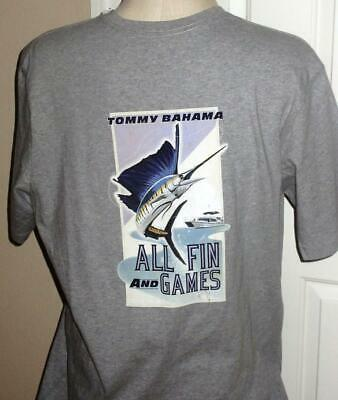 "Tommy Bahama XLT ""All Fin and games"" grey heather cotton Mens T shirt"