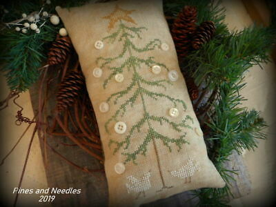 """""""Button Tree""""  -  Primitive Linen Cross Stitch Tuck ~ by Pines and Needles"""