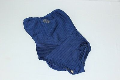 Vintage Christian Dior Blue Ribbed 9/10 One Piece Women's Embroidered Logo Swims