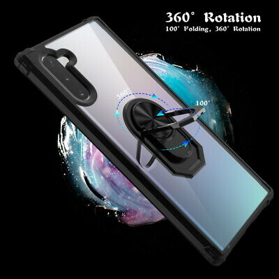Armor Metal Ring Holder Hard Clear Case Cover For Samsung Galaxy Note 10 Plus S9