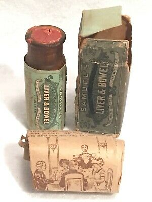 Antique Samuel's Liver & Bowel Tablets Apothecary Pharmacy Bottle Box Rare