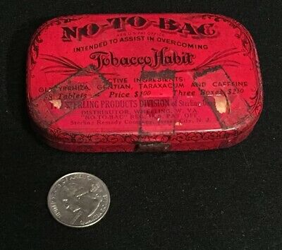 Antique No-To-Bac Tin Sterling Remedy Co. Quack Medicine Rare Version W/ Content
