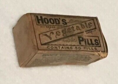 Antique Hood's Vegetable Pills Apothecary Pharmacy Box C.I. Hood and Company