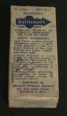 Antique Blackburn's Balmwort Stimulant Diuretic Tablets Quack Medicine Rare