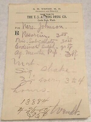 RARE OBSOLETE PAPER PRESCRIPTION RX Druggist PHARMACY MEDICINE APOTHECARY #32
