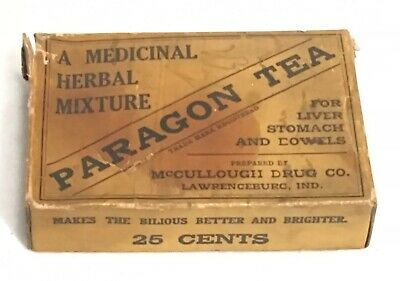 Antique Paragon Tea Apothecary Pharmacy Box Mccullough Drug Co. Lawrenceburg IN
