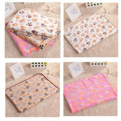 Dog Pet Puppy Cat Pig Small Large Warm Soft Blanket Beds Mat Paw Print