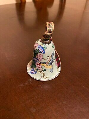 Chinese Vintage Cloisonne Bell Shaped Ornament  Trinket Humming Bird Green
