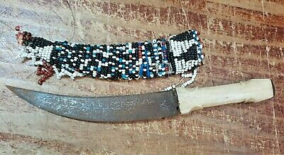 Vintage Old African Or Egyptian Knife In Beaded Scabbard Hand Made