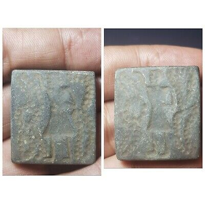 Ancient bactrian double side old schist stone intaglio seal bead