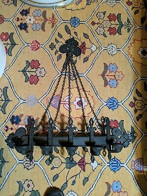 Vintage Wrought Iron Style Gothic Wall Chain Hanging Candle Holder - 5 Candle