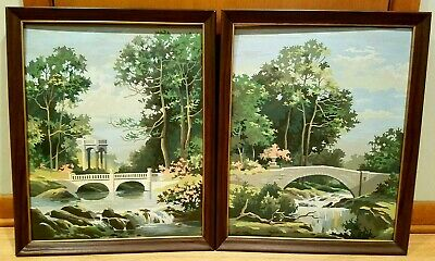 Pair Vintage Paint By Number Framed Mid Century Paintings Waterfalls Landscape