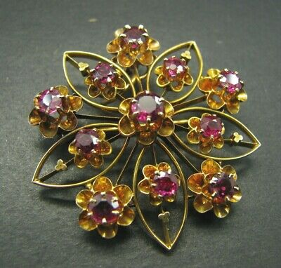 14K YELLOW GOLD Antique Victorian RUBY BROOCH PIN PENDANT Flower Star 3.50TCW