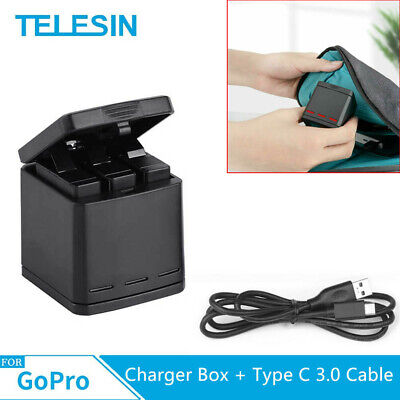 TELESIN For GoPro Hero 3 Slot Battery Charger charging Type C 3.0 Cable USB 3.1
