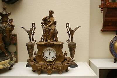 Seth Thomas Sons No-8028 spelter figural mantle clock serviced new mainsprings