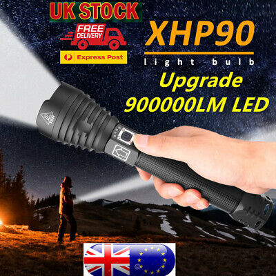 Powerful 900000Lumens XHP70 Zoom Flashlight LED USB Rechargeable Torch Headlamp