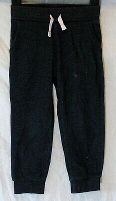 Girls H&M Black Silver Sparkly Comfy Cuffed Casual Jogger Trousers Age 2-3 Years