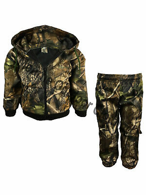 Kids Real Tree Camo Waterproof Hunting Tracksuit Camouflage Hoodie Bottom Suit