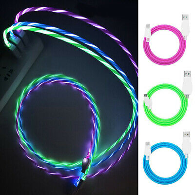 USB Cable For iPhone Samsung LED Flow Light Data Sync Charger Charging Lead Cord