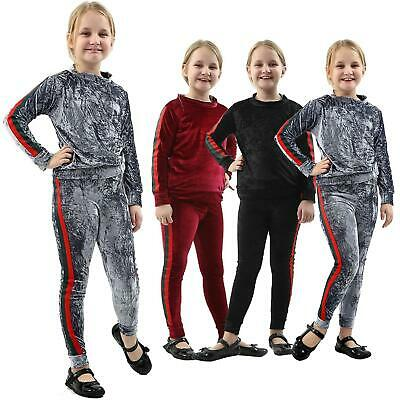 New Kids Girls Velvet Stripe Tracksuit Top & Bottom Set Velour Lounge Wear