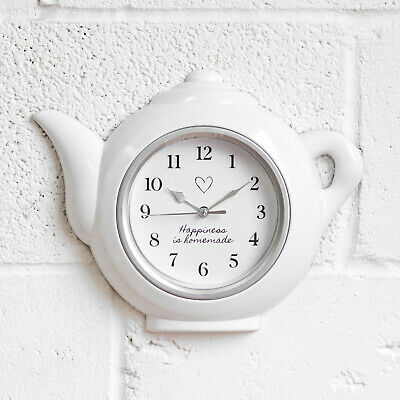 Teapot Shaped Modern Kitchen Wall Clock Happiness Is Homemade White Novelty Gift