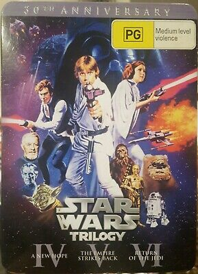 Star Wars Original Trilogy Theatrical Rare Dvd Steelbook Tin Box Set Limited Ed.