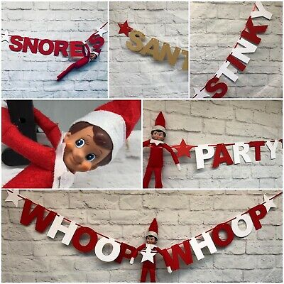 Elf accessories Banner Bunting Party on shelf decor props christmas the elves