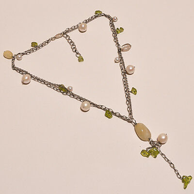925 Sterling Solid Silver Antique Chain Necklace Pear,Peridot,Golden Rutile(EBE)