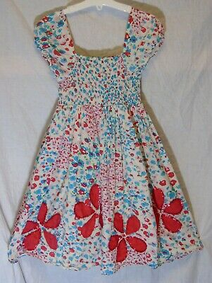 Girls Debenhams Blue Red Sequin Flowers Lined Gypsy Cap Sleeve Dress Age 8 Years