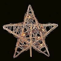 Kurt Adler 10/L Rattan Natural Star Tree Topper