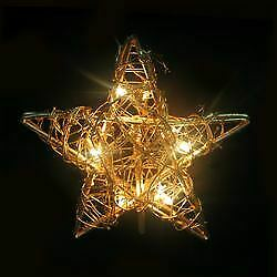 Kurt Adler 10/L Rattan Gold Star Tree Topper