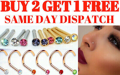 Nose Stud Pin Nose Screw Surgical Steel Thin Ear Lip Ring Crystal Gem Piercing