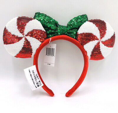 Candy Cane Cutie Minnie Ears Lollipop Disney Parks Sequins Rare Gift Headband