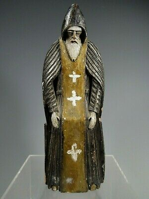 RARE Russia Russian carved Polychrome Figure of St Nil Stolbensky ca. 19-20th c.