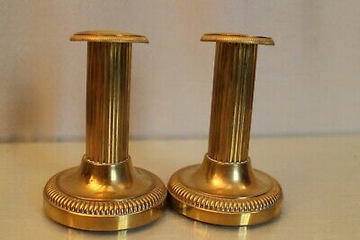 Pair of Candle Holders Bronze 19e in Fut Fluted Style Louis 16