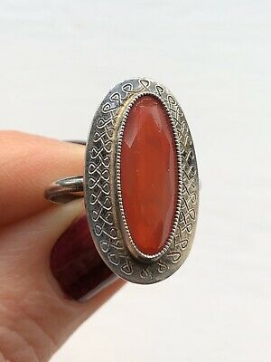 Antique Art Deco French Silver Carnelian Gemstone Statement Ring Sze L Christmas