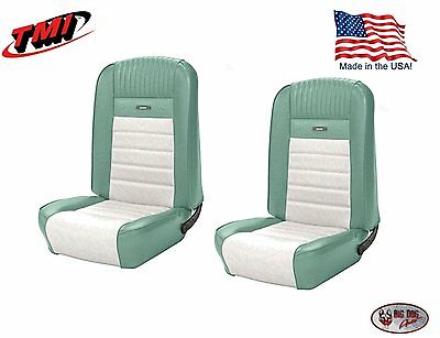 Deluxe PONY Seat Upholstery Mustang Fastback, Front/Rear, Turquoise & White