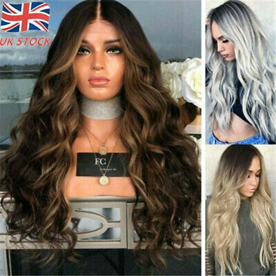 Women Long Wigs Wavy Curly Cosplay Full Natural Hair Ombre Blonde Party Costume