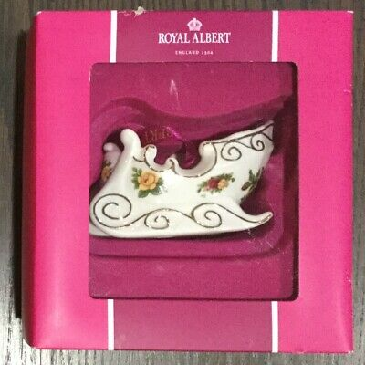 New Royal Albert Old Country Roses Porcelain Sleigh Christmas Ornament